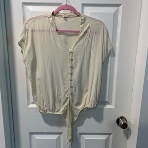 *4 for $20* Cream top with nice buttons- tie front